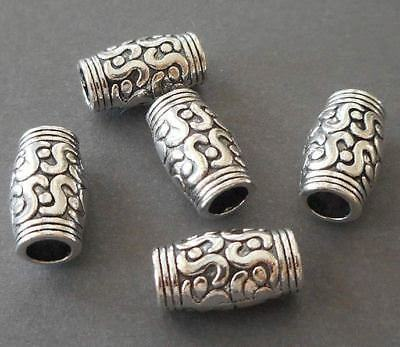 14pcs-9mmX8mm antique silver//Tibetan silver big hole DIY barrel beads
