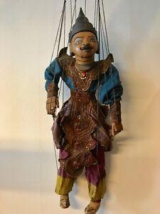 Unikat-Marionette-Thailand-Handarbeit-geschnitzter-Kopf-beweglicher-Mund-Asia