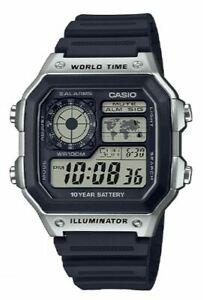 Casio Men's Quartz World Time Black Resin Band 42mm Watch AE1200WH-1CV