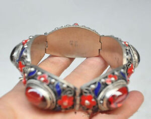 China-039-s-Tibet-dynasty-palace-cloisonne-silver-inlaid-jade-bracelet-N