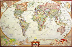 Executive style laminated world map tripel projection reference image is loading executive style laminated world map tripel projection reference gumiabroncs Images