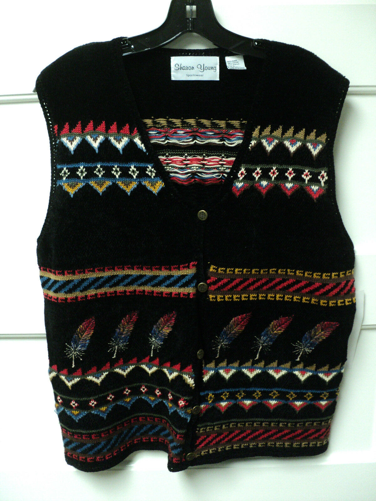 SHARON YOUNG BRAND  FEATHERS   NOVELTY SWEATER VEST, SIZE LARGE - NWT