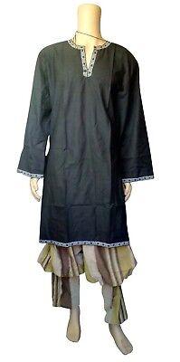 Camicia Tunica Medievale Larp Rievocazione Viking Costume Petto Fit Nero Marrone-mostra Il Titolo Originale
