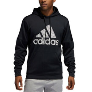 New-Adidas-Mens-Team-Issue-Logo-Pullover-Athletic-Hoodie-Size-XXL-Black-Grid