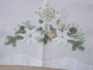 Norway-32-034-Embroidered-Table-Cloth-Christmas-Angels-Vintage-Norwegian-Embroidery