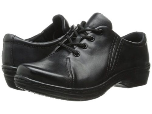 Women's 10 Klogs Illusion Black Leather Illusion Clog Lace Up Up Up Oxford shoes 10M 77e52f