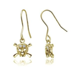 Gold-Tone-over-Sterling-Silver-Cubic-Zirconia-Skull-amp-Crossbones-Dangle-Earrings