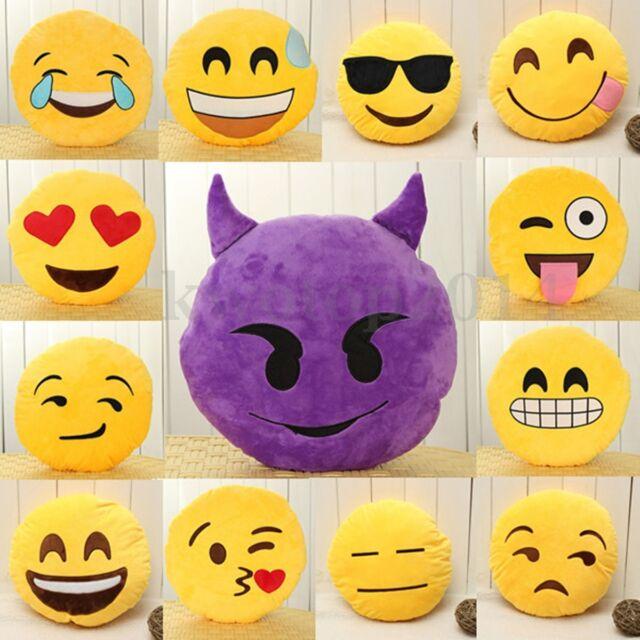 Yellow Round Cushion Soft Emoji Smiley Emoticon Stuffed Plush Toy Doll Pillow