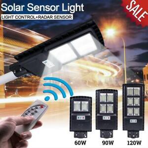 60W-90W-120W-LED-Luz-De-Calle-Solar-Sensor-De-Movimiento-Pir-Exterior-Pared-Lampara-Control-Remoto