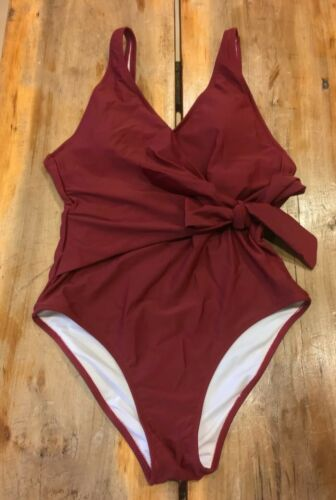 CupsheElegant Dance Solid One-piece  Swimsuit Burgundy NWT Fully Lined Small