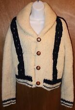 VTG Angela Campos De Morris Hand Knit Wool Cardigan I.Magnin Womens S M Sweater