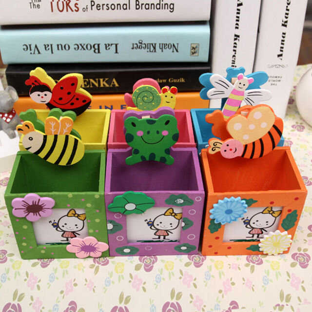 Cute Wooden Pen Pencil Holder Stationery Organizer Storage Office Container RA