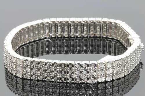 3 Row Diamond Tennis Bracelet White Gold Finish 1.00 CTS