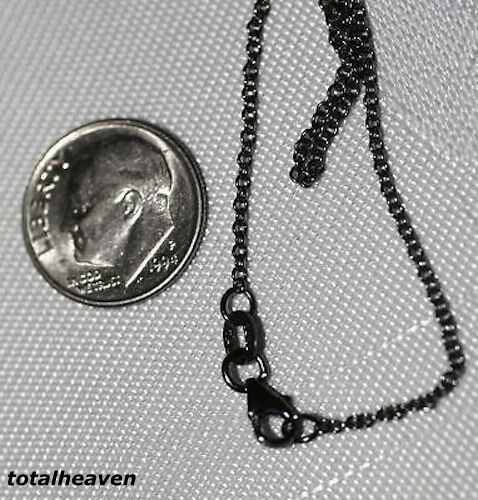 """COUTURE 18/"""" Italian Solid 14K BLACK Rhodium Gold Cable Chain 2.62g EXOTIC Look"""