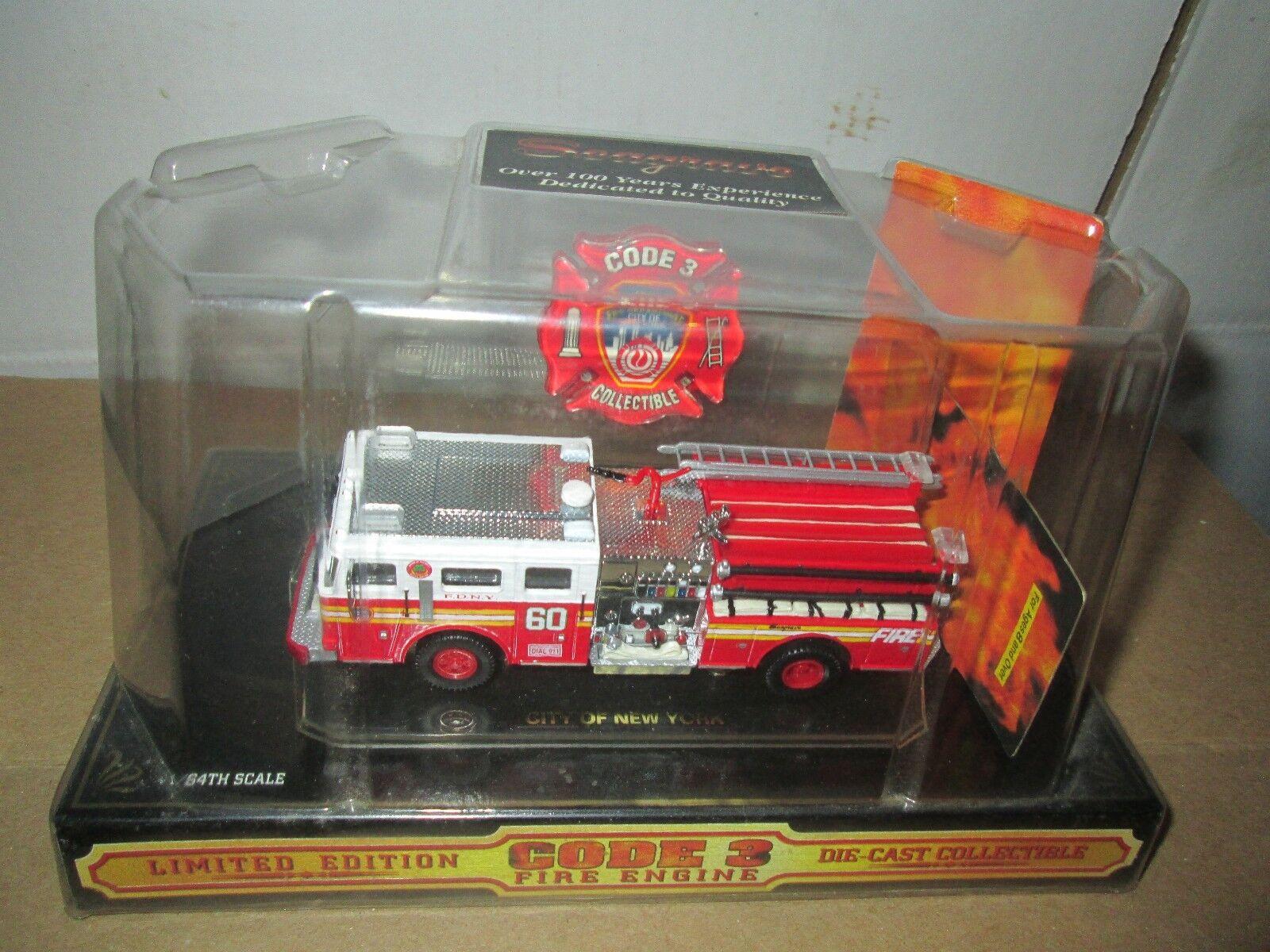 Código 3 - 1   64 bomba de bomberos de la ciudad de Nueva York 60 02453 camión seagrave