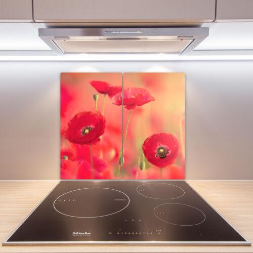 Herdabdeckplatten aus Glas Spritzschutz Rote Mohnblumen 2x30x52 cm