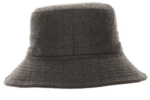 Cappello Cespuglio Tweed Secchio con motivo spigato grigio Paese breve orlo Donna Mix di lana da uomo