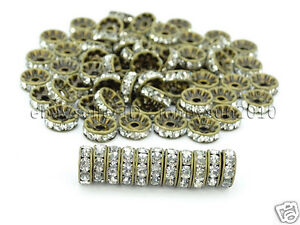 100P-Czech-Crystal-Rhinestones-Bronze-Rondelle-Spacer-Beads-4mm-5mm-6mm-8mm-10mm