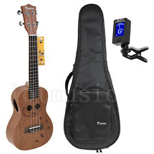 23 Inch Concert Ukulele Hawaii Guitar Mahogany Cat W/Bag Tuner