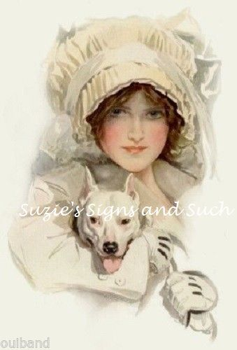 Harrison Fisher Fabric Block Victorian Edwardian Woman  printed onto fabric Dog