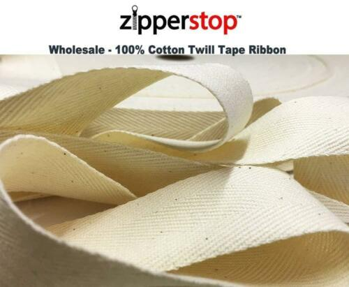100/% Cotton Twill Tape Ribbon 100 YDS//ROLL Made in USA ZipperStop Wholesale