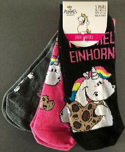 3-Paar-Pummeleinhorn-Damen-Sneaker-Socken-Pummel-Einhorn-Struempfe-37-42-Primark