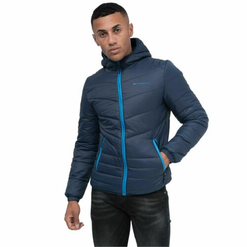 New Mens Crosshatch Quilted Diamond Jacket Bomber Zip Thru Hooded Coat Padded