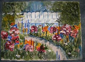 VINTAGE WILD FLOWERS GARDEN W/C PAINTING HER TRIBUTE TO ARTIST SATSUKO HAMILTON