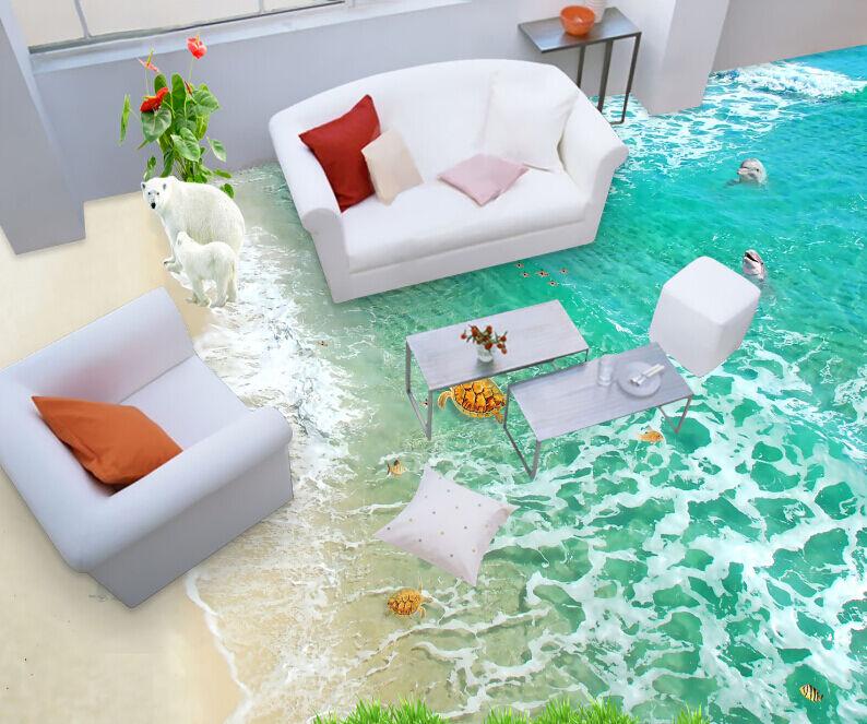 3D Blau Waves Beach Floor WallPaper Murals Wall Print Decal 5D AJ WALLPAPER