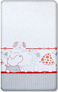 BABY FITTED COT BED SHEET PRINTED 100/% COTTON MATTRESS 140x70cm Zoo Red