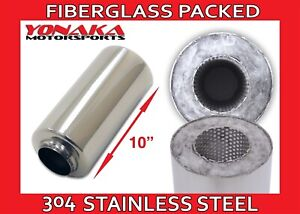 "PAIR ALL 304 S//S STAINLESS STEEL 3 1//2/"" RESONATOR 10/"" LONG 3/"" ID IN /& OUT"