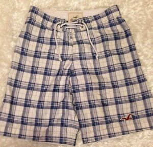 Mens-Hollister-Shorts-Size-32-Board-Swim-Trunks-100-Polyester-Blue-Plaid