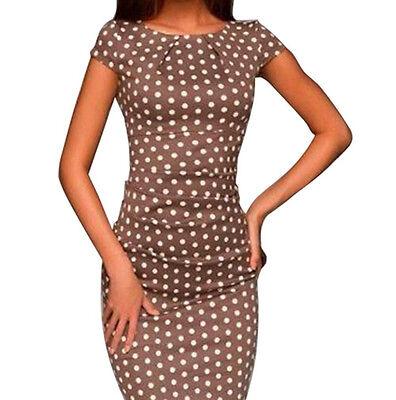 Women Lady Short Sleeve O-neck Polka Dot Print Evening Party Slim Dress