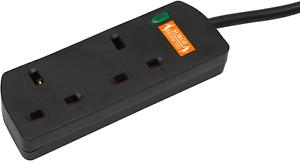 Pro Elec 2 M 2 Way Gang Surge Protected Extension Lead-Black