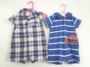 c7969eb8c LOT OF 2 BLUE & WHITE CARTER'S BABY BOY 9 MONTH SHORTALL ROMPER ...