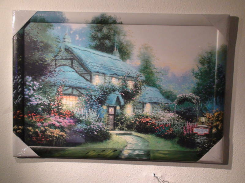 Hand-Painted Unique Picture Painting Art Print 960x660mm Landscape House Flowers