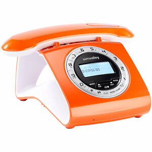 retro dect schnurlostelefon mit anrufbeantworter orange ebay. Black Bedroom Furniture Sets. Home Design Ideas
