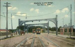 New-Haven-CT-Kimberly-Ave-Bridge-Trolleys-c1910-Postcard