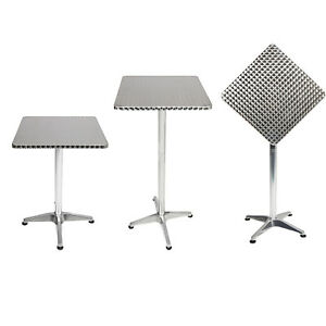 Bistro Table Haute En Aluminium 60x60cm Reglable En Hauteur Table