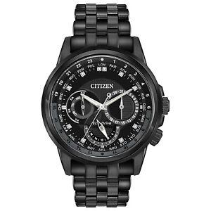 Citizen Eco-Drive Calendrier Men's World Time Black IP 44mm Watch BU2027-54E