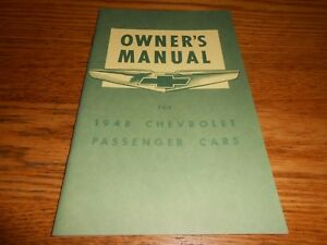 CHEVROLET 1948 Car Owner/'s Manual 48 Chevy