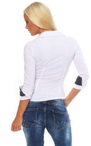 4862 Taillierte Langarm Businessbluse Damen Bluse Hemdbluse Business Citylook !!