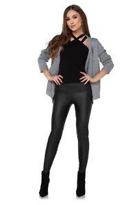 Hoher-Bund-Leggings-mit-Taschen-Kunstleder-Lack-Optik-Fleece-Innen-Lzk