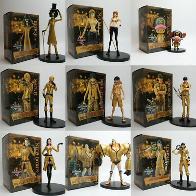 9PS//set One Piece Figure Gold Straw hat Pirates Luffy Nami Zoro Anime Toy In Box