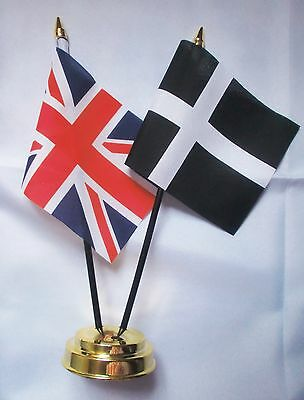 UNION JACK AND WILTSHIRE TABLE FLAG SET 2 flags plus GOLDEN BASE
