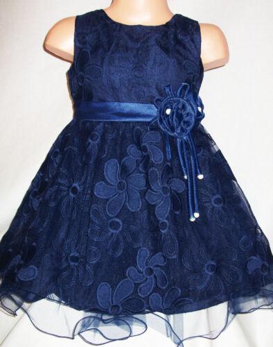 GIRLS NAVY BLUE FLORAL PATTERN SATIN TRIM BRIDESMAID PRINCESS PROM PARTY DRESS