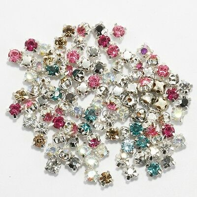200pcs Rhinestone Beads Crystal Gemstone Clear Spacer For Jewelry Making DIY 4mm