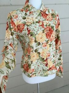 Coldwater-Creek-Womens-Linen-Floral-Jacket-NWT-Button-Front-Flower-Print-Small