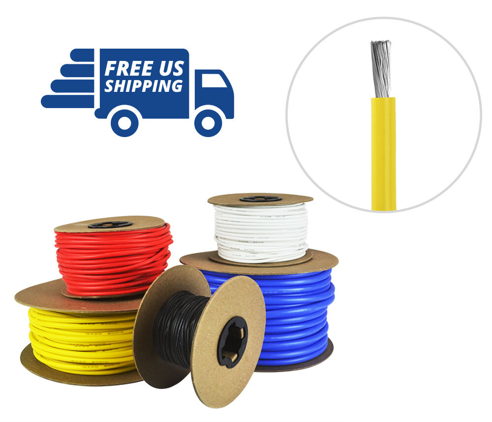 8 AWG Gauge Silicone Wire Spool - Fine Strand Tinned Copper - 100 ft. Yellow
