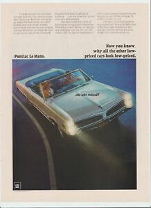 Pontiac Le Mans Vintage 1966 Ad Classic Car Advertising